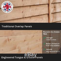 4x6 Overlap Wooden Garden Shed Double Door Windowless Apex Roof Felt 4ft x 6ft