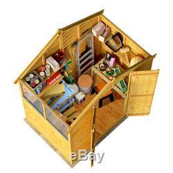 4x6 Overlap Wooden Storage Garden Shed Double Door Windowed Apex Roof 4ft x 6ft