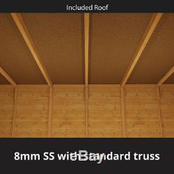 4x6 Tongue & Groove Garden Wooden Shed Windowless Double Door Pent Roof & Felt