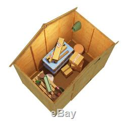 4x6 Tongue & Groove Windowless Wooden Garden Storage Shed Single Door Apex Roof