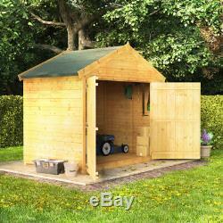 4x6 Tongue & Groove Wooden Bike Storage Double Door Garden Shed Apex