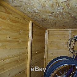4x6 Wooden Overlap Garden Bike Storage Shed No Window Double Doors Pent Roof 4ft