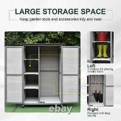5ft Wooden Garden Shed 3 Shelves Open Right 2 Doors Handle Lock Four Legs Grey