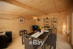 5m x 4m WOODEN LOG CABIN GARDEN OFFICE ROOM BUILDING SHEDS 44mm CLAD SHINGLES
