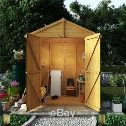 6X6 Wooden Shed Windows Double Doors Apex Roof Felt Garden Storage 6Ft 6Ft