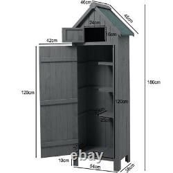 6ft Garden Shed Slim Wooden Outdoor Tool Storage Sheds Small House Lockable Door