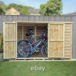 6ft x 4ft WOODEN GARDEN STORAGE SHED OVERLAP PRESSURE TOOL BIKE WOOD STORE 6x4