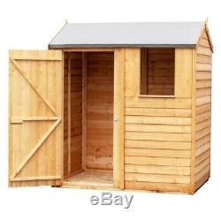 6ft x 4ft Wooden Overlap Reverse Apex Garden Shed with Single Door 1 Window 6x4