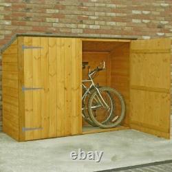 6x2 WOODEN GARDEN BIKE STORE DOUBLE DOOR PENT ROOF FELT WOOD GARDEN SHED STORAGE