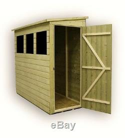 6x3 Garden Shed Shiplap Pent Roof Tanalised 3 Windows Low Side Pressure