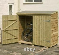6x3 ROWLINSON BIKE SHED WALLSTORE OVERLAP BICYCLE WOODEN WALL WOOD GARDEN STORE