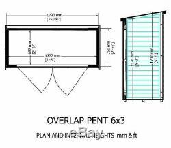 6x3 WOODEN GARDEN SHED OVERLAP PENT STORAGE OUTDOOR STORE DOUBLE DOOR 6FT 3