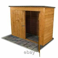 6x3 Wooden Bike Tool Shed Garden Overlap Pent Storage Double Door Outdoor Store
