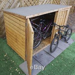 6x3 Wooden Overlap Garden Bike Storage Shed No Window Double Doors Pent 6ft 3ft