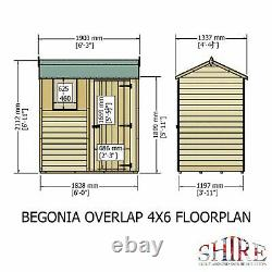 6x4 APEX REVERSE OVERLAP GARDEN WOODEN TOOL SHED WINDOW DIP TREATED WOOD 6FT 4FT