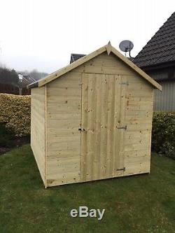 6x4 Apex Garden Shed 14mm Thick Tanalised T&G Pressure Treated Wooden Hut
