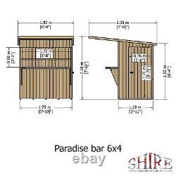 6x4 GARDEN BAR SHED OUTDOOR WOODEN DRINKS HATCH PATIO PARTY SHIPLAP LEFT DOOR