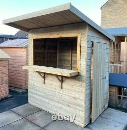 6x4 GARDEN BAR SHED WOODEN DRINKS HUT TANALISED SHIPLAP PATIO OUTDOOR TREATED