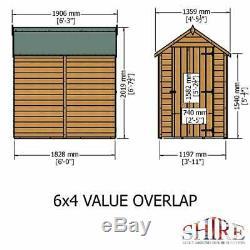 6x4 GARDEN SHED APEX ROOF FLOOR DOOR WINDOWLESS WOOD TOOL BIKE STORE 6ft 4ft