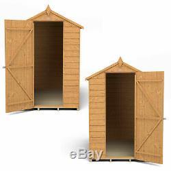 6x4 GARDEN SHED APEX ROOF FLOOR DOOR WINDOWLESS WOOD TOOL BIKE STORE 6ft 4ft NEW