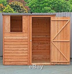 6x4 WOODEN GARDEN SHED OVERLAP PENT STORAGE WINDOW STORE SINGLE DOOR 6FT 4FT