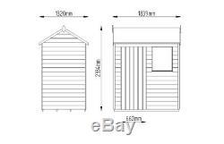 6x4 WOODEN GARDEN SHED SINGLE DOOR REVERSE APEX SHEDS OVERLAP CLAD 6ft x 4ft
