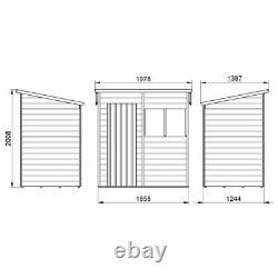 6x4 Wooden Garden Shed Overlap Pent Roof Storage 6ft x 4ft Installation Option
