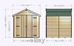 6x6 GARDEN SHED APEX ROOF FLOOR DOUBLE DOOR WINDOWLESS WOOD TOOL BIKE STORE 6ft