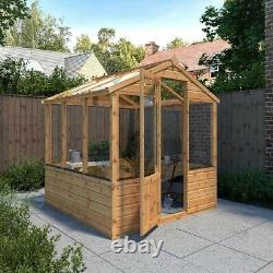 6x6 GREENHOUSE GARDEN SHED TIMBER WOOD POTTING SHEDS APEX WOODEN WINDOWS 6FT