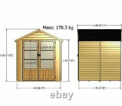 6x6 SUMMERHOUSE GARDEN SHED OFFICE OVERLAP WOODEN DOUBLE DOOR OUTDOOR ROOM 6ft