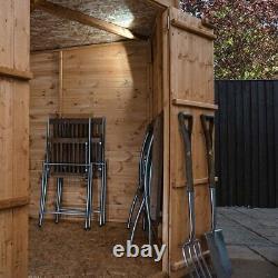 7ft CORNER SHIPLAP GARDEN SHED PRESSURE TREATED DOUBLE DOOR PENT ROOF WOOD STORE