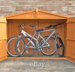 7x3 BICYCLE STORE GARDEN SHED APEX ROOF DOUBLE DOOR OVERLAP WOOD BIKE 7ft 3ft