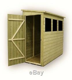 7x3 Garden Shed Pent Tanalised 3 Windows Low Side Pressure Treated Door Left End
