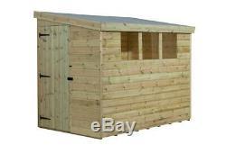 7x4 Garden Shed Shiplap Pent Tanalised 3 Low Windows Door Left