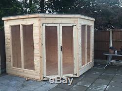 7x7 tg corner summer house modern wooden garden shed log cabin