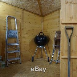 7x7 WOODEN SHIPLAP CORNER GARDEN SHED WINDOW DOUBLE DOOR PENT ROOF 7FT 7FT STORE