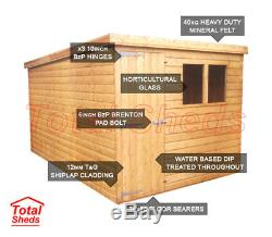 8ft X 8ft Pent Garden Shed Top Quality Wooden Timber