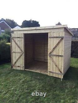 8x4 GARDEN SHED TANALISED T&G WOODEN STORE DOUBLE DOOR PENT STYLE HUT