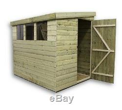 8x5 Garden Shed Shiplap Pent Tanalised 3 Low Windows Door Right