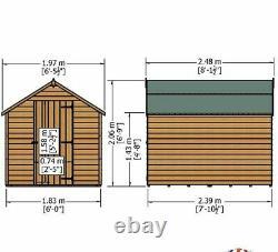 8x6 GARDEN SHED APEX ROOF FLOOR WINDOWLESS WOOD TOOL BIKE STORE DIP TREATED