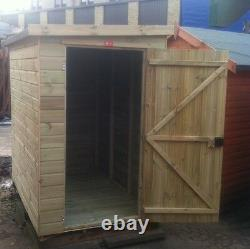 8x6 Garden Shed Pent Roof Pressure Treated Store Tanalised Tongue & Groove Hut
