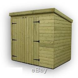 8x6 Garden Shed Shiplap Pent Roof Tanalised Double Door