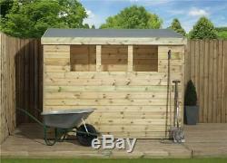8x6 Garden Shed Shiplap Pent Tanalised 3 Low Windows Door Right