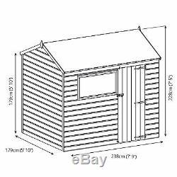 8x6 Overlap Wooden Garden Shed Window Single Door Reverse Apex Roof 6Ft 8Ft