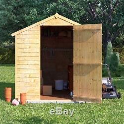 8x6 Overlap Wooden Garden Storage Shed Single Door Windowless Apex Roof 8FT 6FT