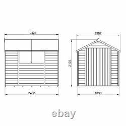 8x6 Pressure Treated Wooden Garden Shed 8ft x 6ft Apex Double Door Overlap Sheds