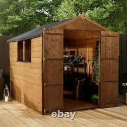 8x6 T&G SHIPLAP GARDEN SHED PRESSURE TREATED DOUBLE DOOR APEX WINDOWS WOOD STORE