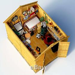 8x6 Tongue & Groove Double Door Wooden Shed Windowless Apex Garden Tool Storage