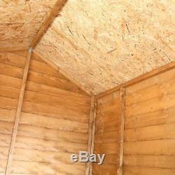 8x6 WOODEN GARDEN SHED APEX ROOF FELT WINDOWS FLOOR OUTDOOR STORAGE 8ft 6ft NEW