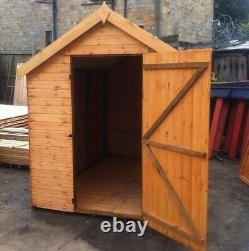 8x6 WOODEN GARDEN SHED FULLY T&G APEX HUT 12mm TREATED STORE NO WINDOWS